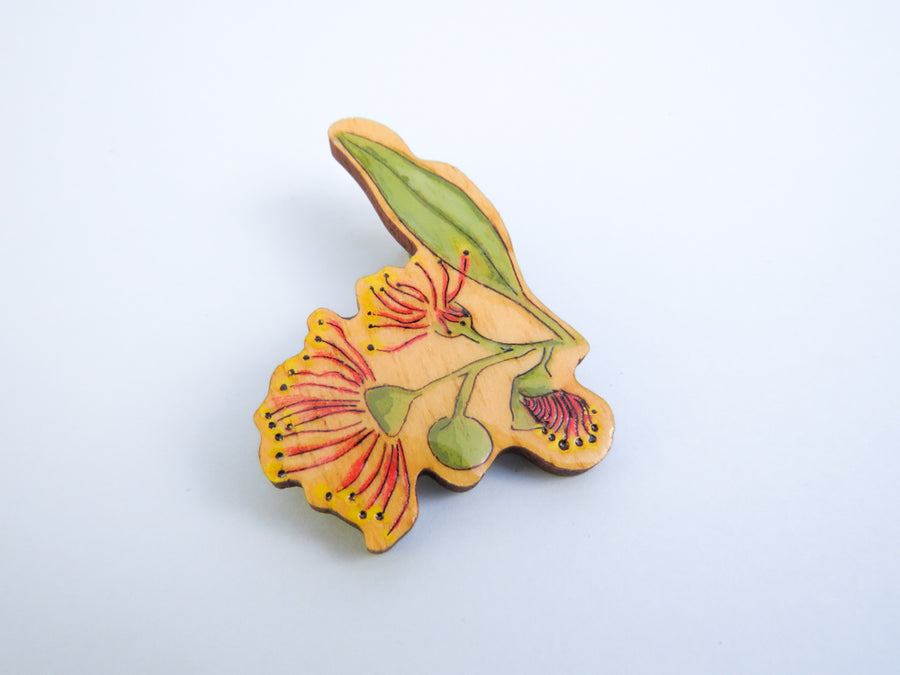 Gum Blossom Wooden Hair Clip Pink and Green