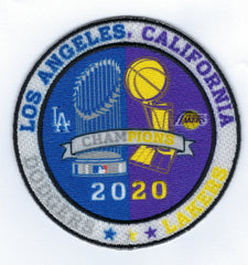 Dodgers and Lakers Dual Champions Trophies Patch