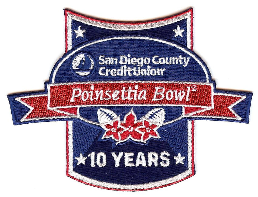San Diego County Credit Union Poinsettia Bowl 10 Years Patch