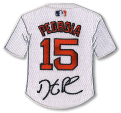 Dustin Pedroia jersey patch with signature