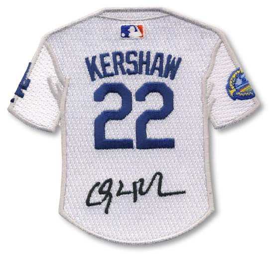 Clayton Kershaw jersey patch with signature
