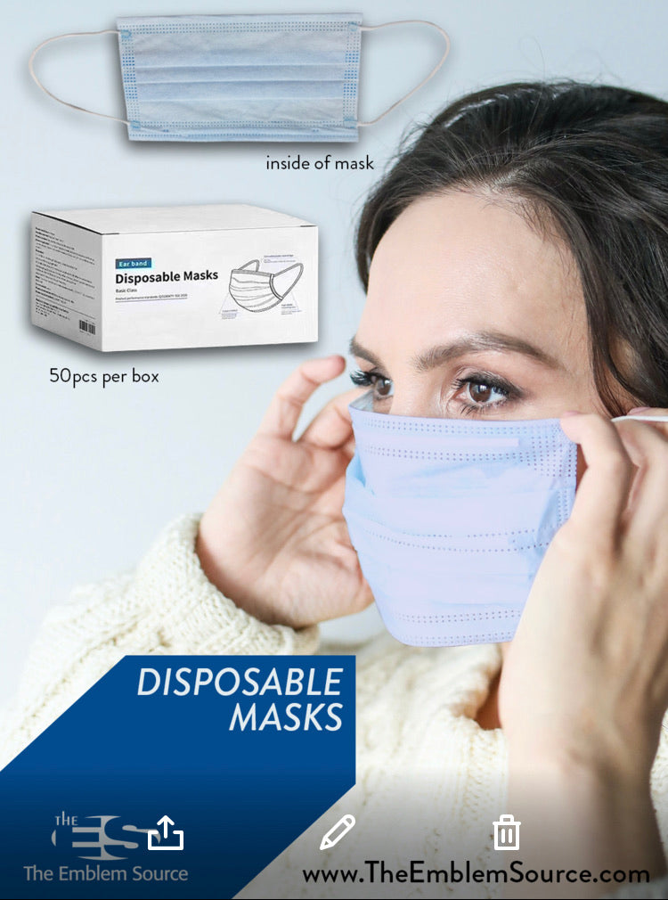 Disposable Face Masks - 50pcs