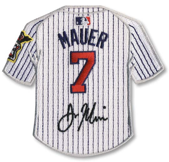 Joe Mauer jersey patch with signature