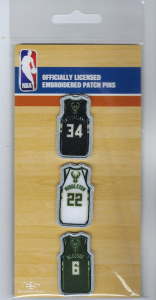 Milwaukee Bucks Jersey Patch Pin Set