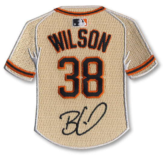 Brian Wilson jersey patch with signature