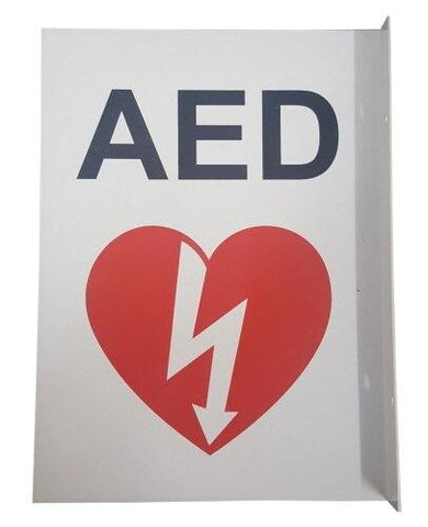 Metal 90° AED Wall Sign (White) - Shop | LivCor Australia
