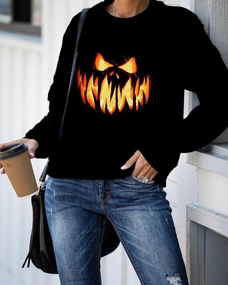 Halloween Pumpkin Print Long Sleeve Sweatshirt