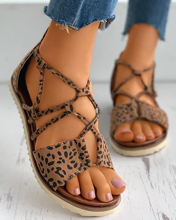 Suede Open Toe Cheetah Pattern Cutout Flat Sandals