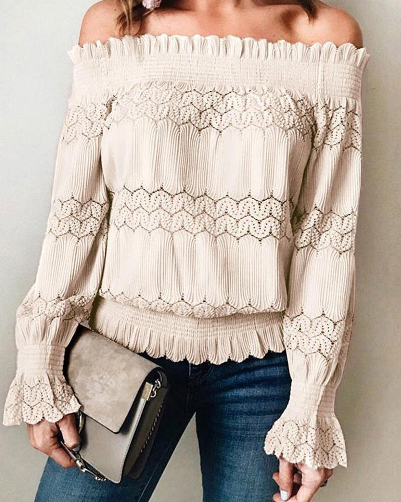 Off Shoulder Lace Trim Casual Top