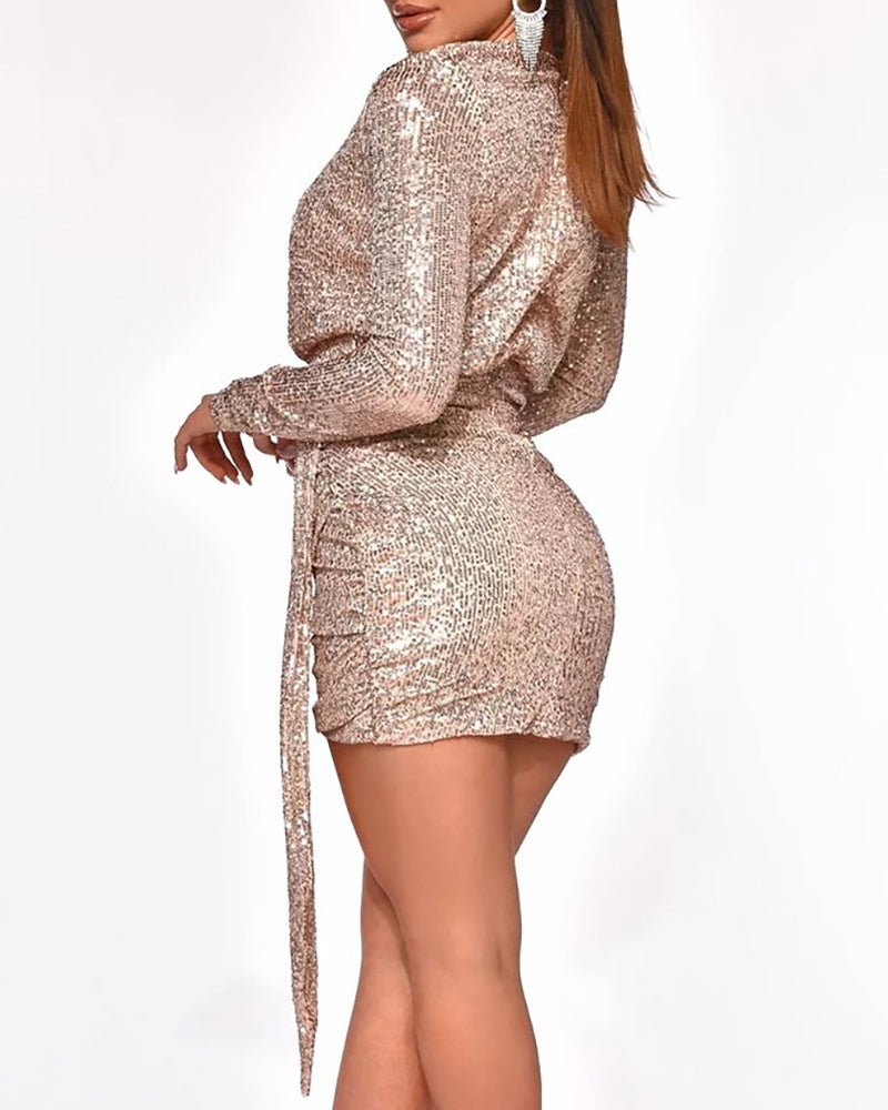 Glitter V Neck Long Sleeve Ruched Sequins Dress