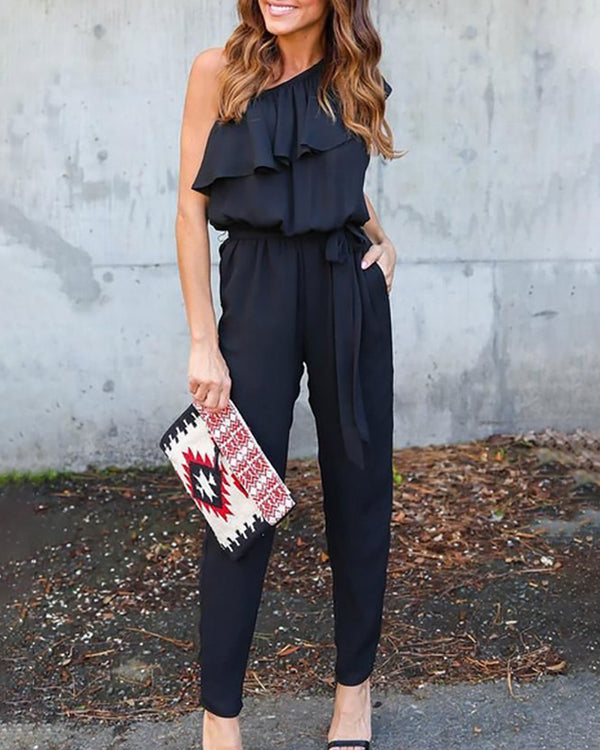 Solid One Shoulder Ruffles Jumpsuit