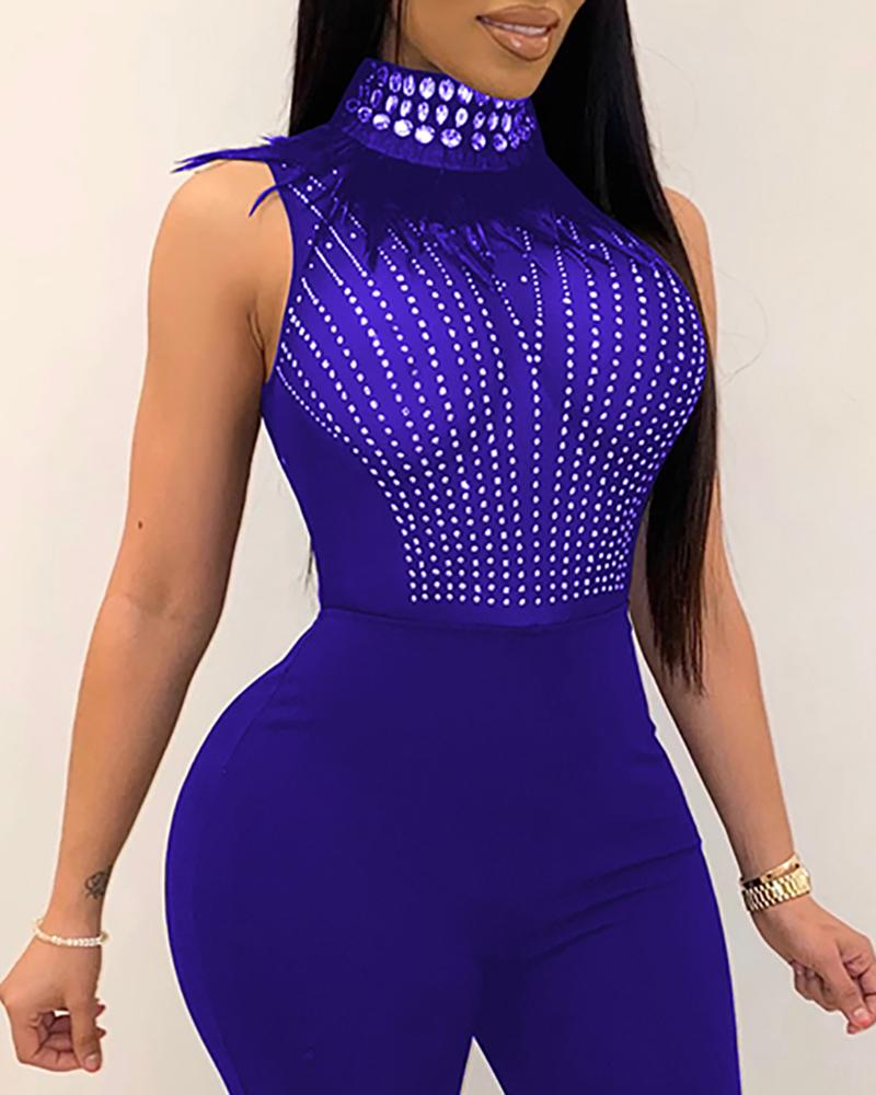 Sheer Mesh Studded Sleeveless Jumpsuit
