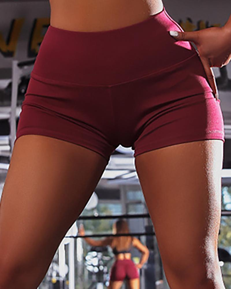 Solid High Waist Ruched Sporty Shorts
