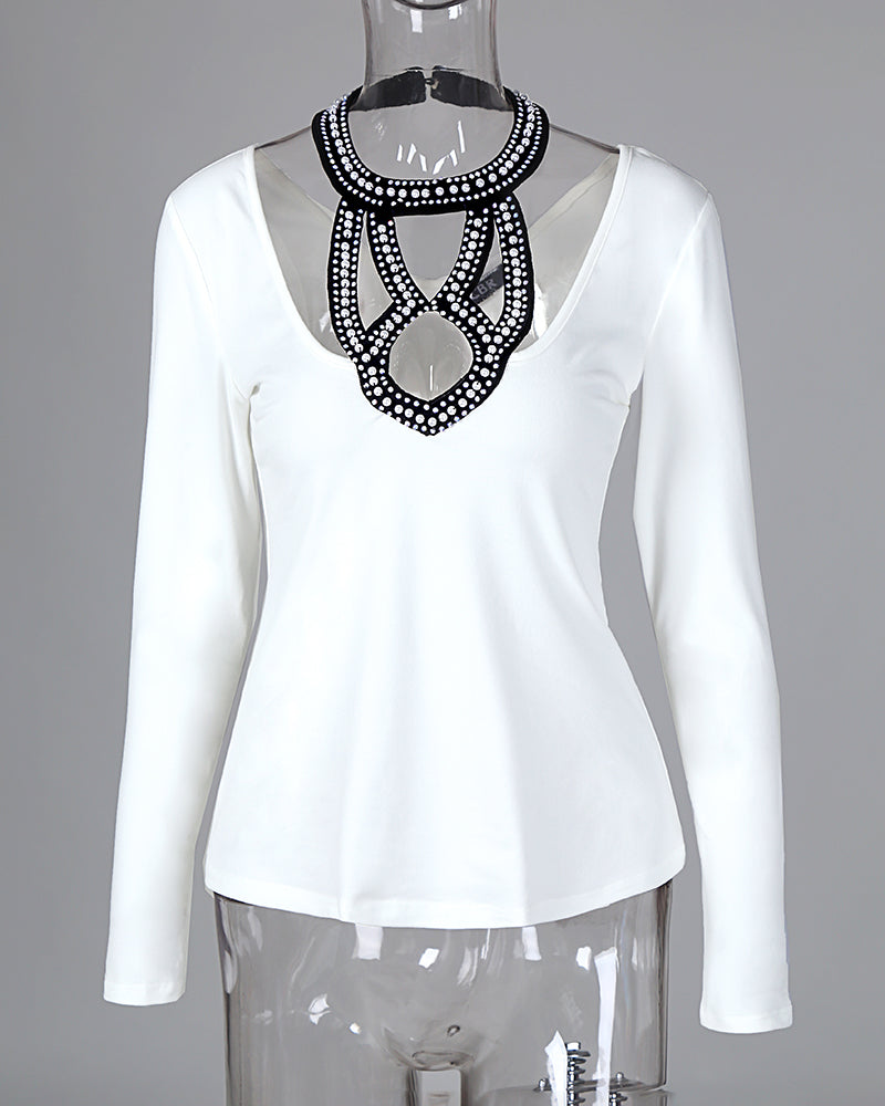 Beaded Embellished Halter Neck Blouse