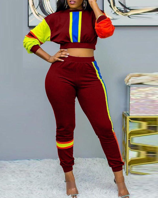 Striped Colorblock Crop Top & Pant Sets
