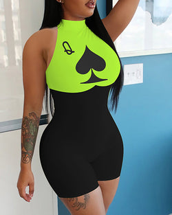 Poker Print Colorblock Sleeveless Fitted Romper