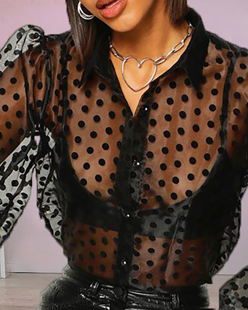 Semi Sheer Mesh Dot Print Shirt