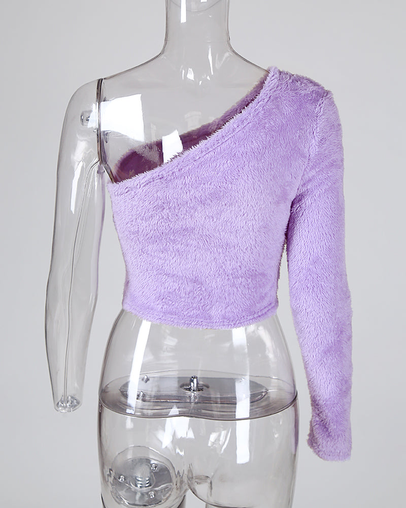 Purple One Shoulder Fluffy Crop Top