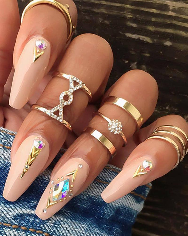 5PCS Studded Rings Set