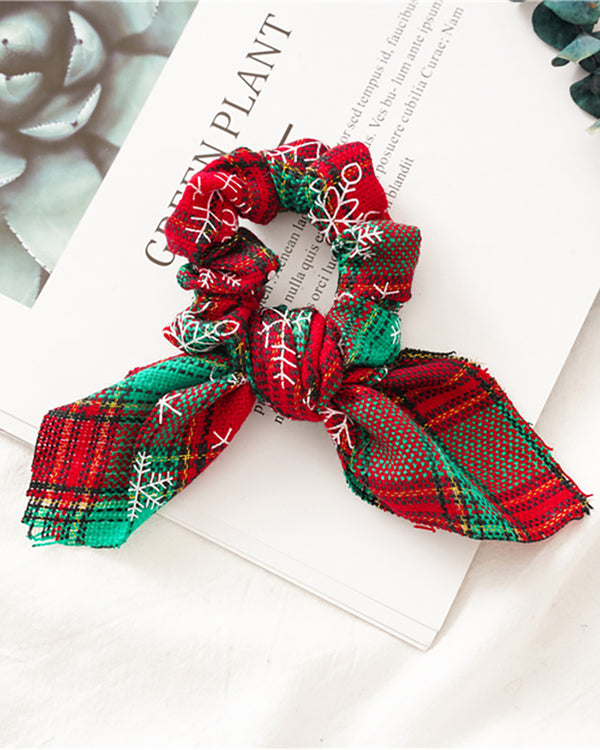Christmas Plaid Print Ear Design Scrunchie