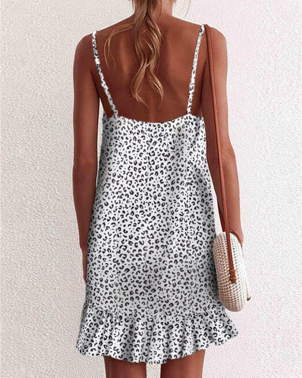Spaghetti Strap Leopard Print Backless Ruffles Dress