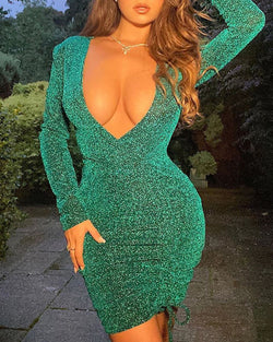 Glitter V-Neck Long Sleeve Ruched Drawstring Bodycon Dress
