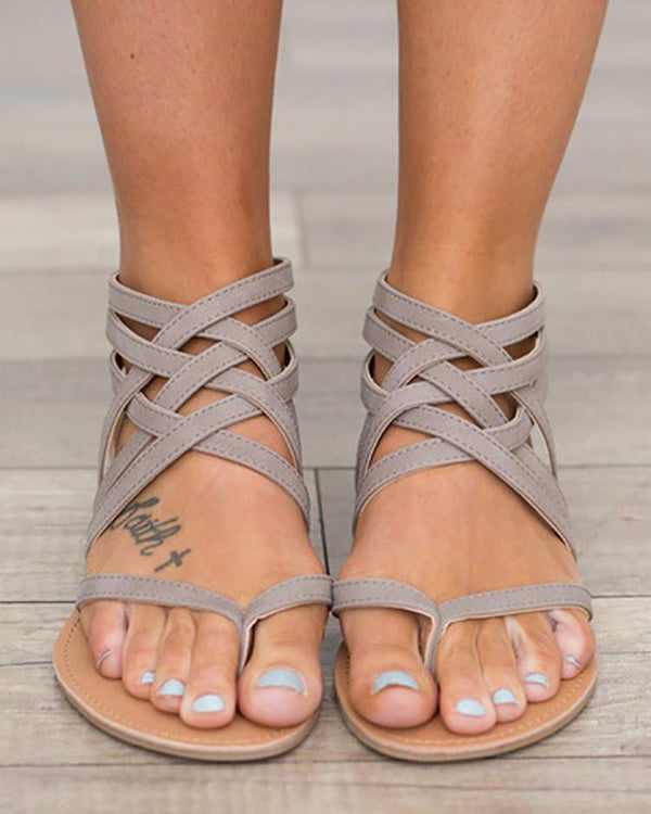Sexy Caged Strap Zipper Back Closure Flat Sandals