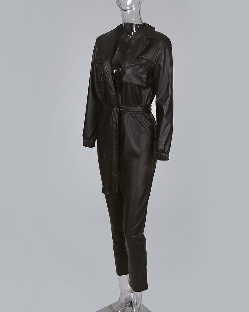 Tie Waist Faux Leather Jumpsuit
