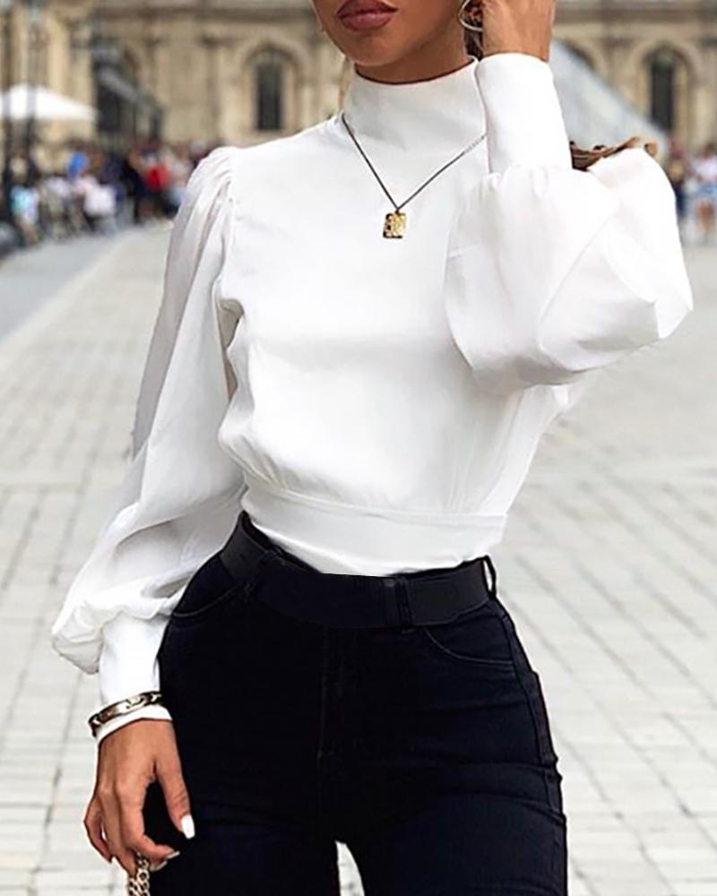 Solid Lantern Sleeve Backless Tied Blouse