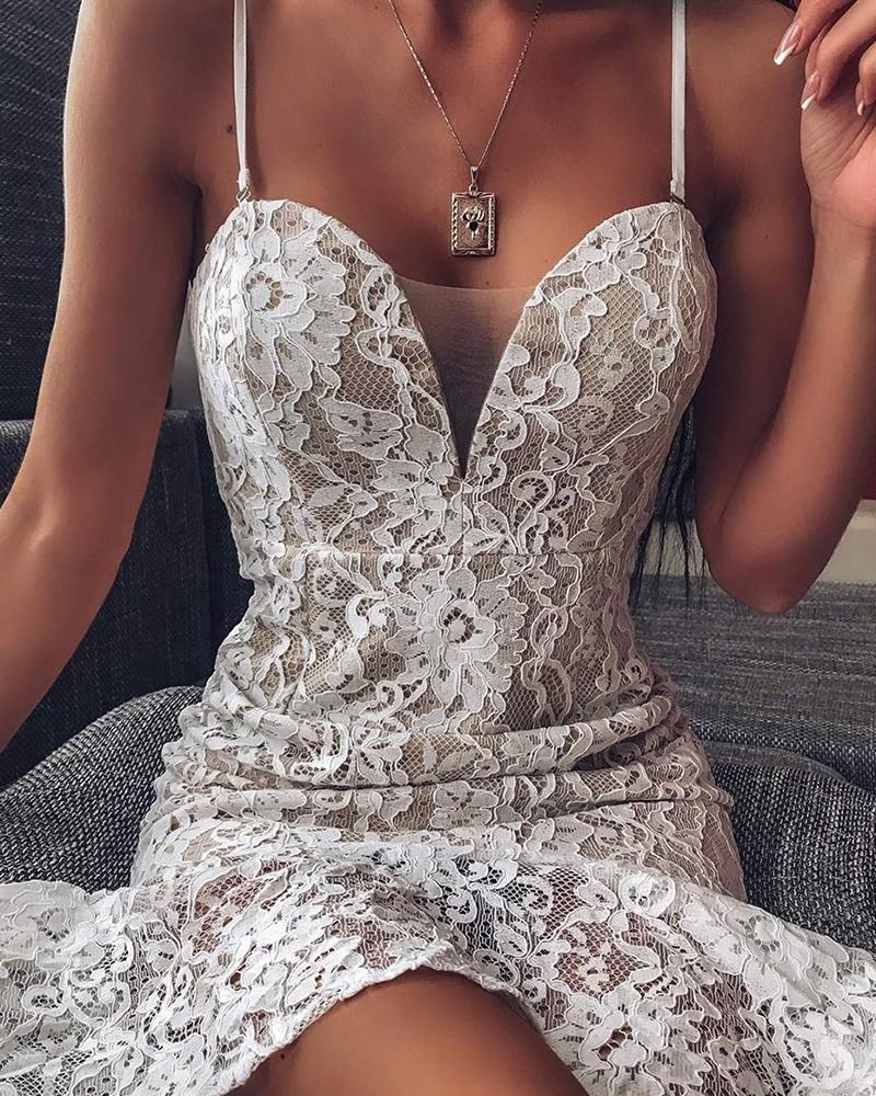 Sweetheart Neck Lace Strappy Dress