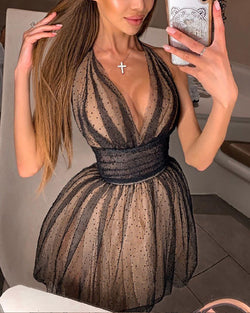 Dot Mesh Tight Waist Sleeveless Dress