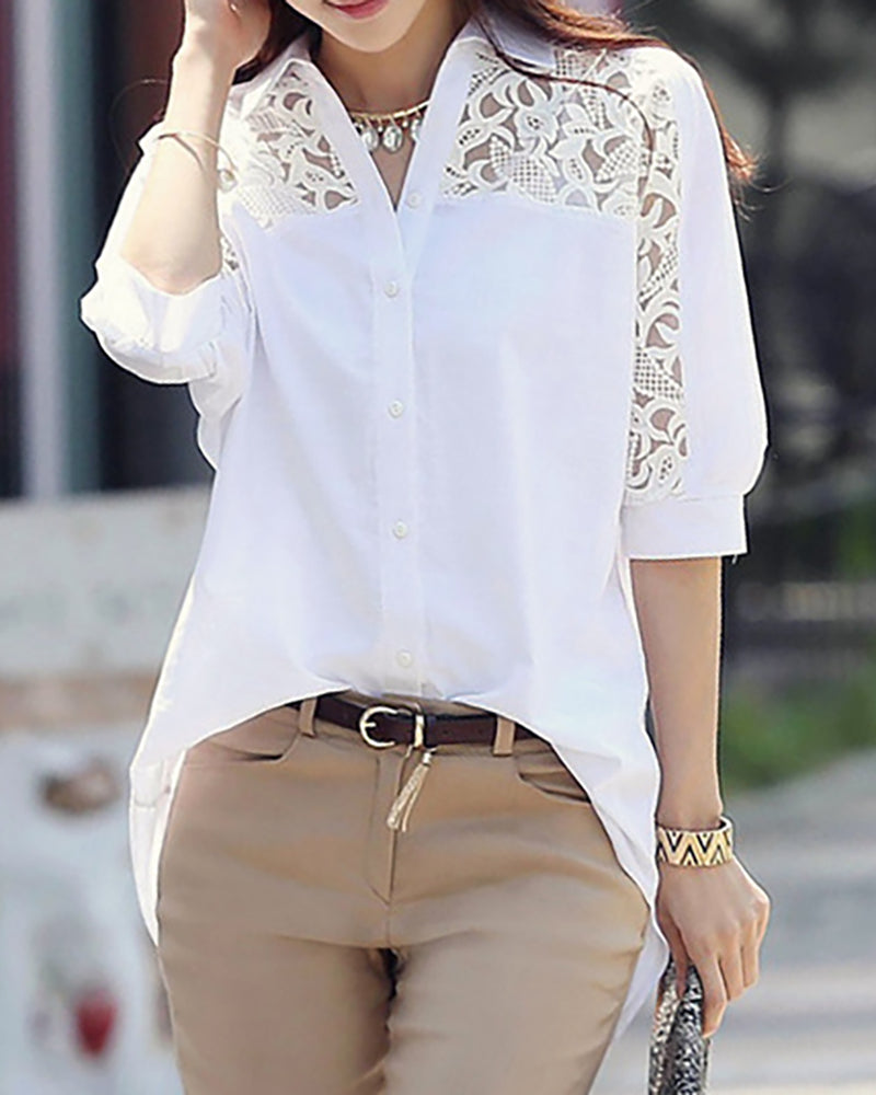 Lace Trim Long Sleeve Casual Shirt