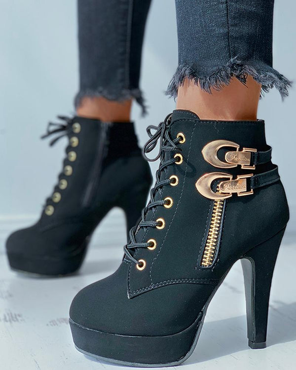 Buckle Zip Eyelet Lace-up Heeled Boots