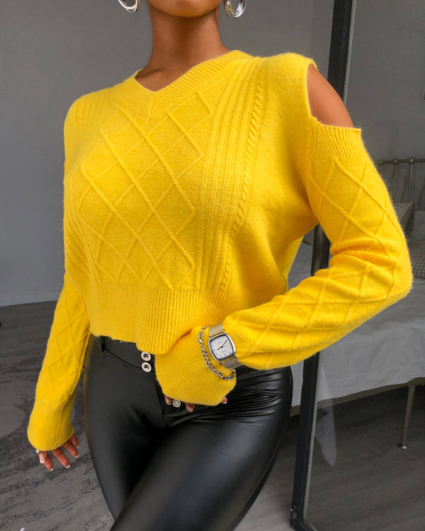 Cold Shoulder Cable Knit Long Sleeve Sweater