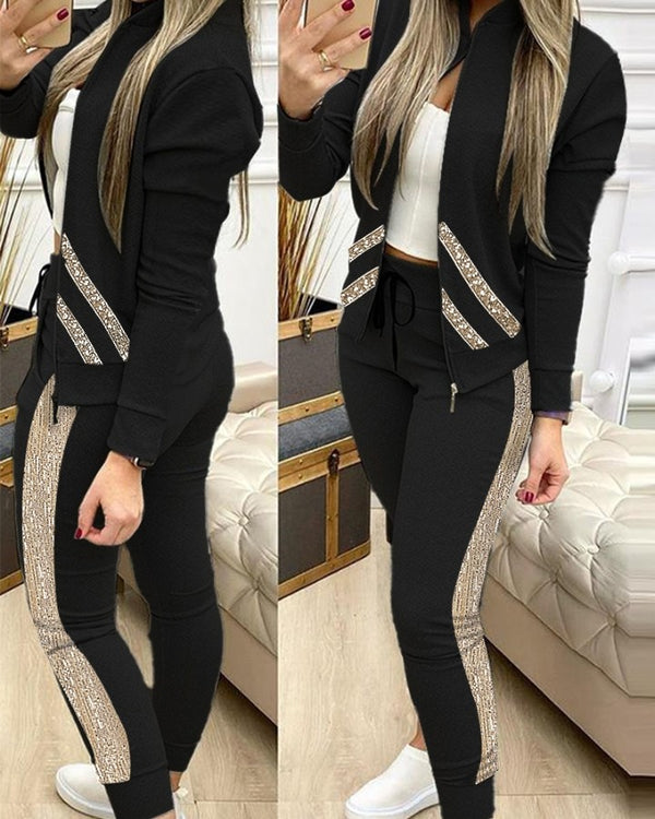 Sequins Zipper Design Long Sleeve Coat & Drawstring Pants Set
