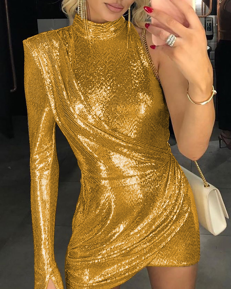Glitter Mock Neck One Shoulder Ruched Sequins Bodycon Dress