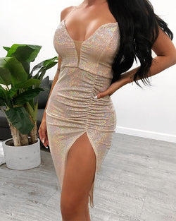 Sexy Deep V Sequined Dress