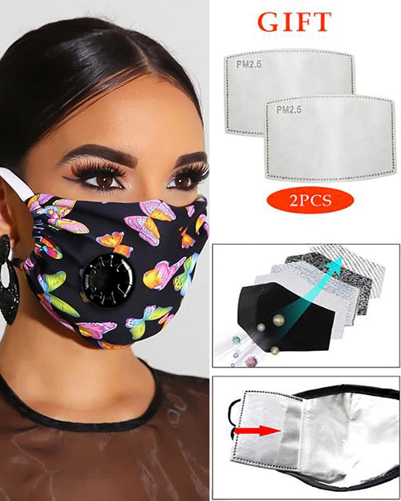 Butterfly Print Breathing Washable Valve Face Mask (2 filters as gift)