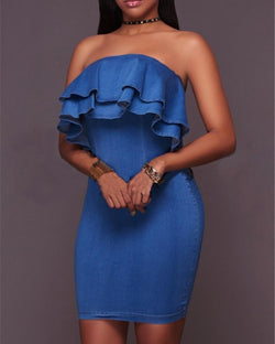 Layered Ruffle Strapless Denim Bodycon Dress