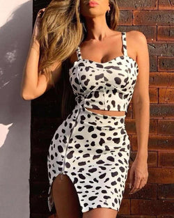 Leopard Print Cami Top & Zipper Slit Skirt Set