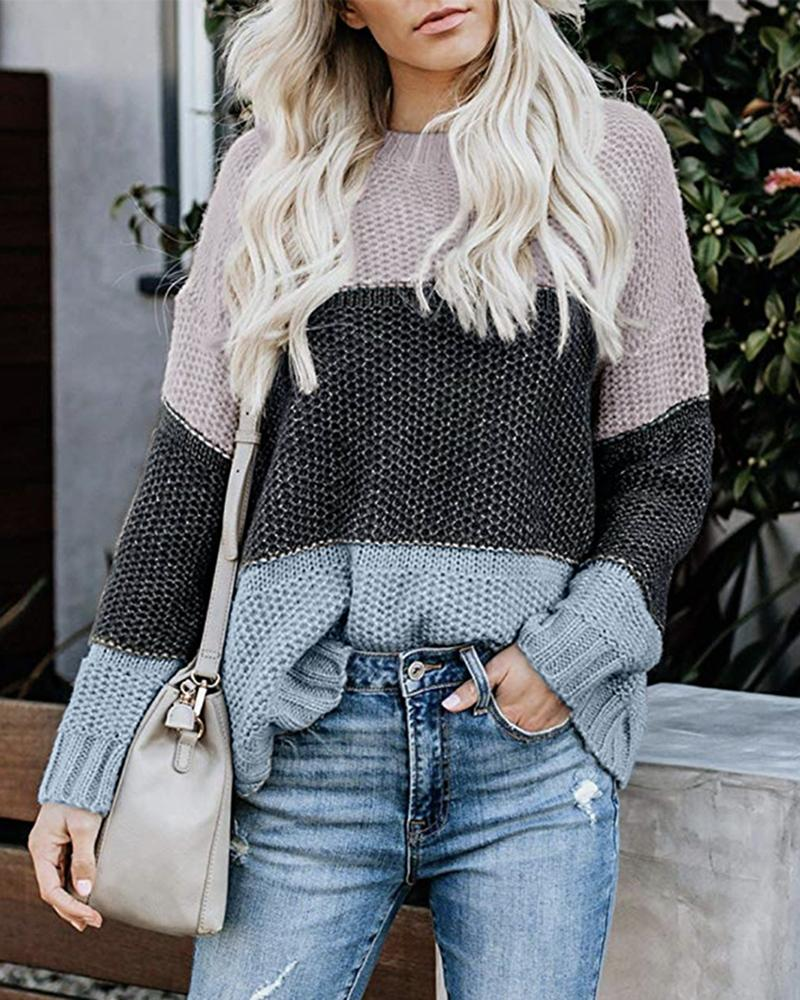 Colorblock Insert Long Sleeve Casual Sweater
