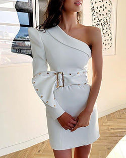 Solid One Shoulder Puff Sleeve Bodycon Dress