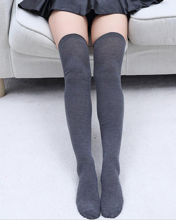 Simple Plain Over The Knee Socks