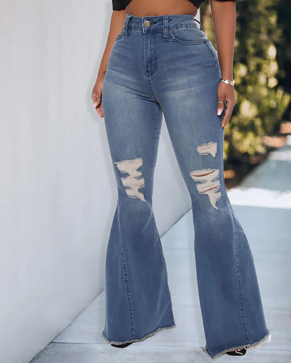 High Waist Pocket Design Ripped Bootcut Jeans