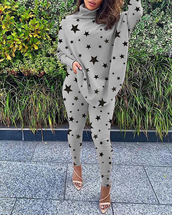 Star Print High Neck Top & Skinny Pants Set
