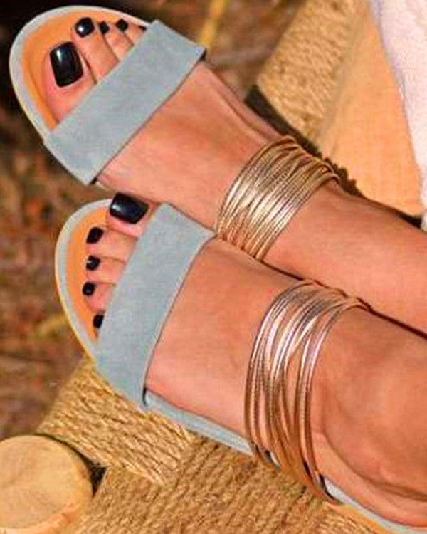 Open Toe Metal Strap Flat Slides
