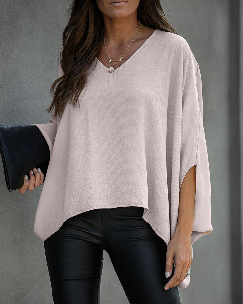 Solid V-neck Batwing Sleeve Blouse