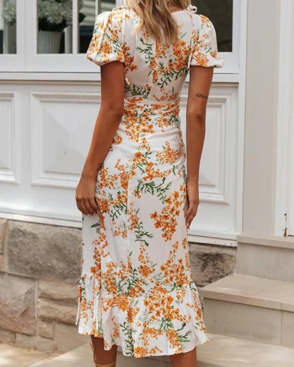 Floral Print V Neck Front Slit Dress