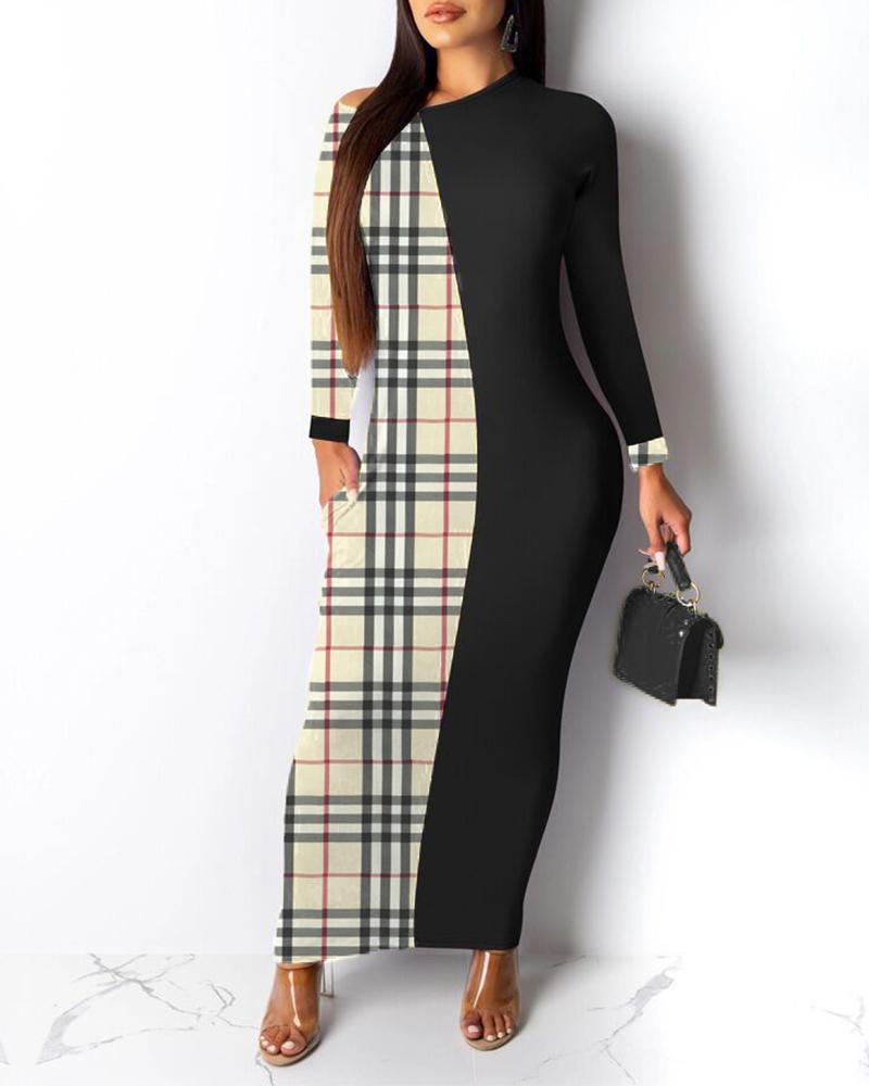 Round Neck Colorblock Insert Plaid Dress