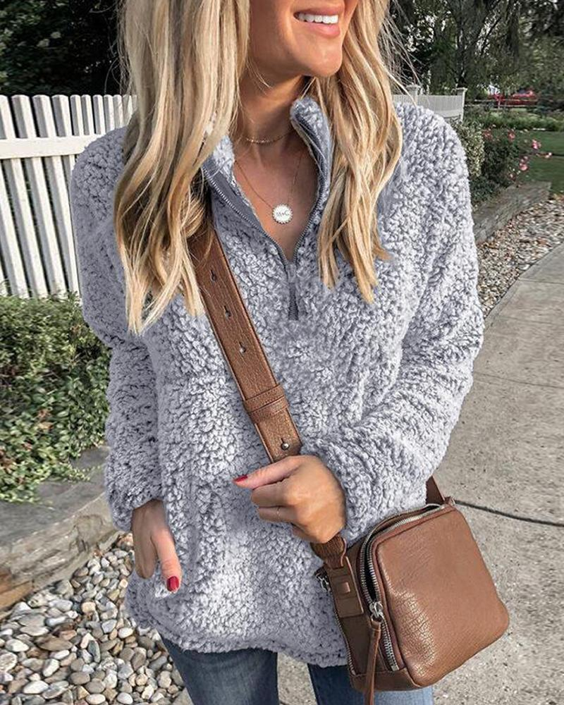 Faux Shearling Zip Neck Pullover